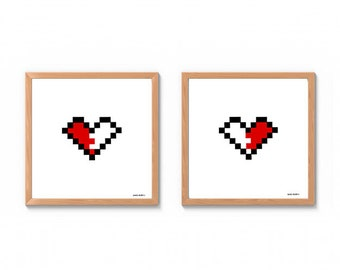 8-bit Heart Anniversary gift Wedding gift valentine/'s day print Gamer art Long-distance relationship gifts Valentine/'s Day poster