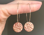 Gold hoops with blush pink and gold shimmer hammered disc