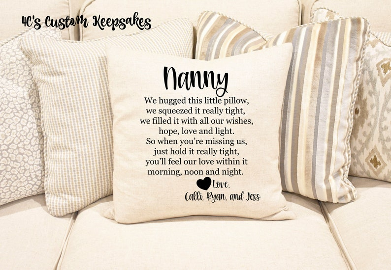 Decorative Pillow Missing You Gift for Nanny Keepsake Pillow Quarantine Gift Grandparents Gift Hug Pillow Throw Pillow