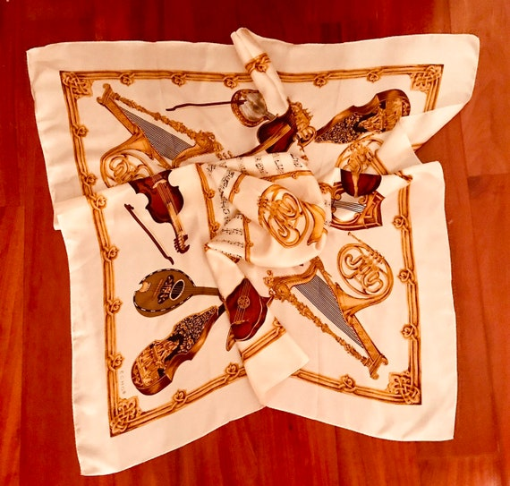 Echo Vintage 100% silk scarf with musical instrume