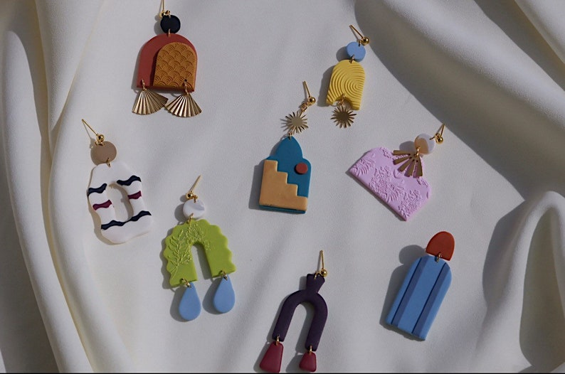 Wes Anderson Inspired  Clay Earrings  Statement Earrings  The Darjeeling Limited