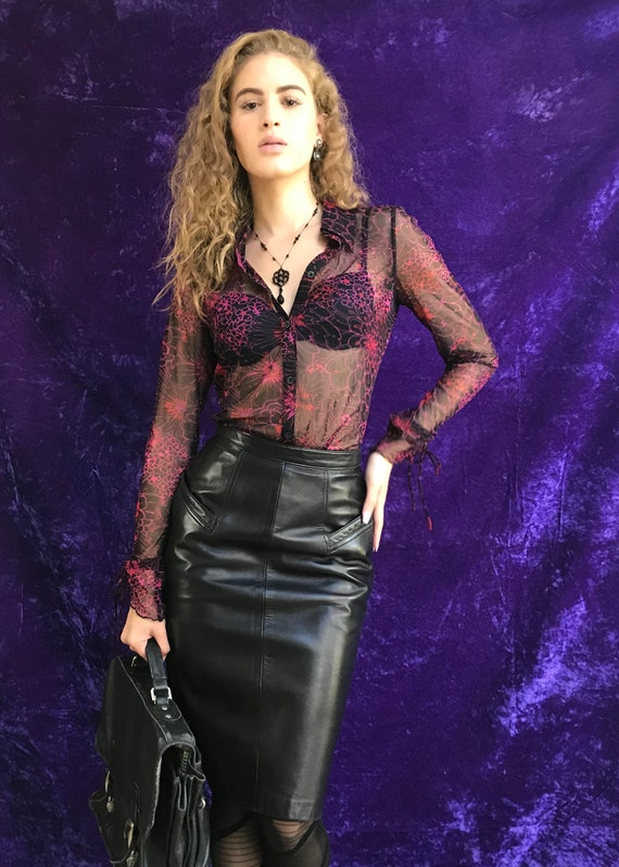 Vintage Leather Skirt // 90s Leather Skirt // Marq