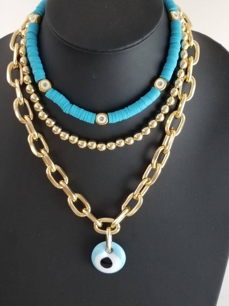 Evil Eye Multi Strand Necklaces