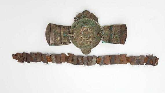 Rare ottoman antique cast brass belt buckle and le