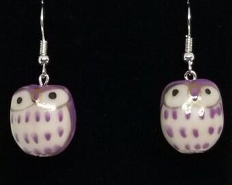 purple earrings bird jewelry purple bird earrings owls purple jewelry woodland purple owl earrings owl jewelry owl studs