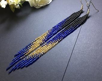 bead earrings, black blue gold very long earrings,extra long earrings, fringe earrings, boho earrings, seed bead earrings, handmade earrings