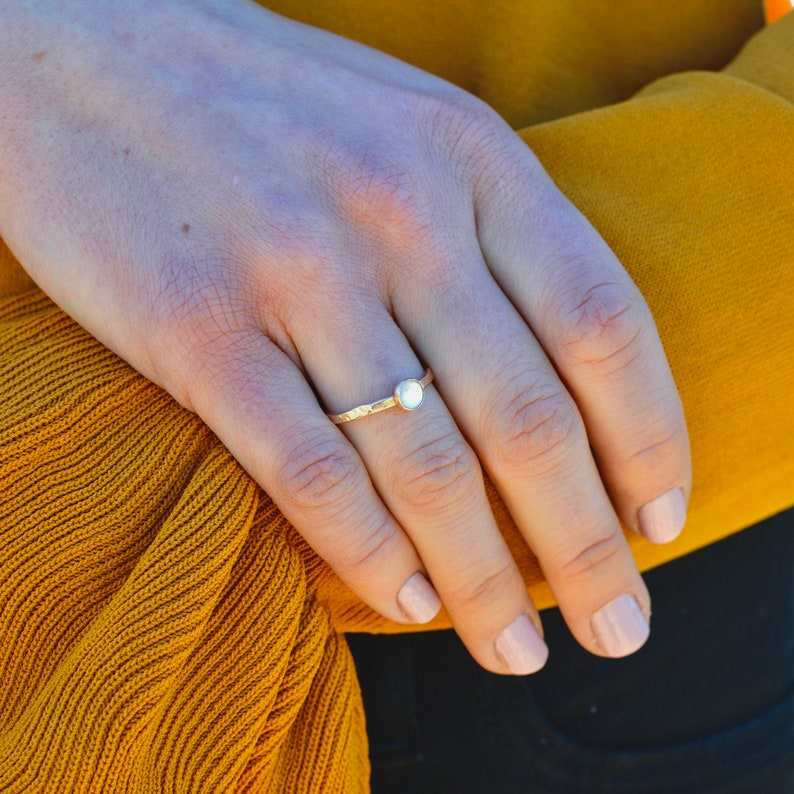 Mother Of Pearl Hammered Ring