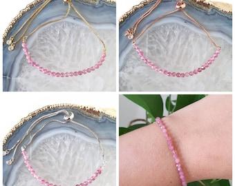 Pink flower bracelet sterling silver pink tourmaline mandala bead delicate flower bracelet