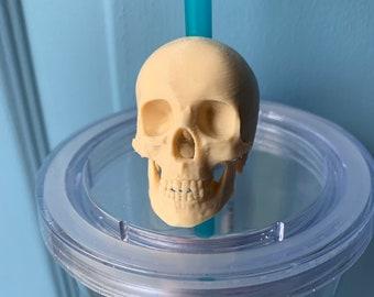 Realistic Human Skull Straw Topper -- Human Bones Straw Charm, Gothic Straw Buddy, Morbid, Dark, Punk, Alternative, Death
