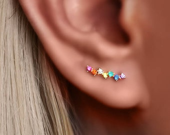 Tiny Earrings, multicolor rainbow climbers, Multicolor earrings, Pride Earrings, Rainbow Earrings, Gift for her