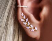 Opal Ear Crawler, Opal Ear Climber, Gold Ear Climber, Silver Ear Crawler, Opal Earrings, Earrings for bride