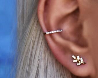 Unique Stud Earrings Folded Leaf Studs Earrings Sterling Silver Statement Earrings Leaf Amorphous Studs Large Earrings Ethnic Earrings
