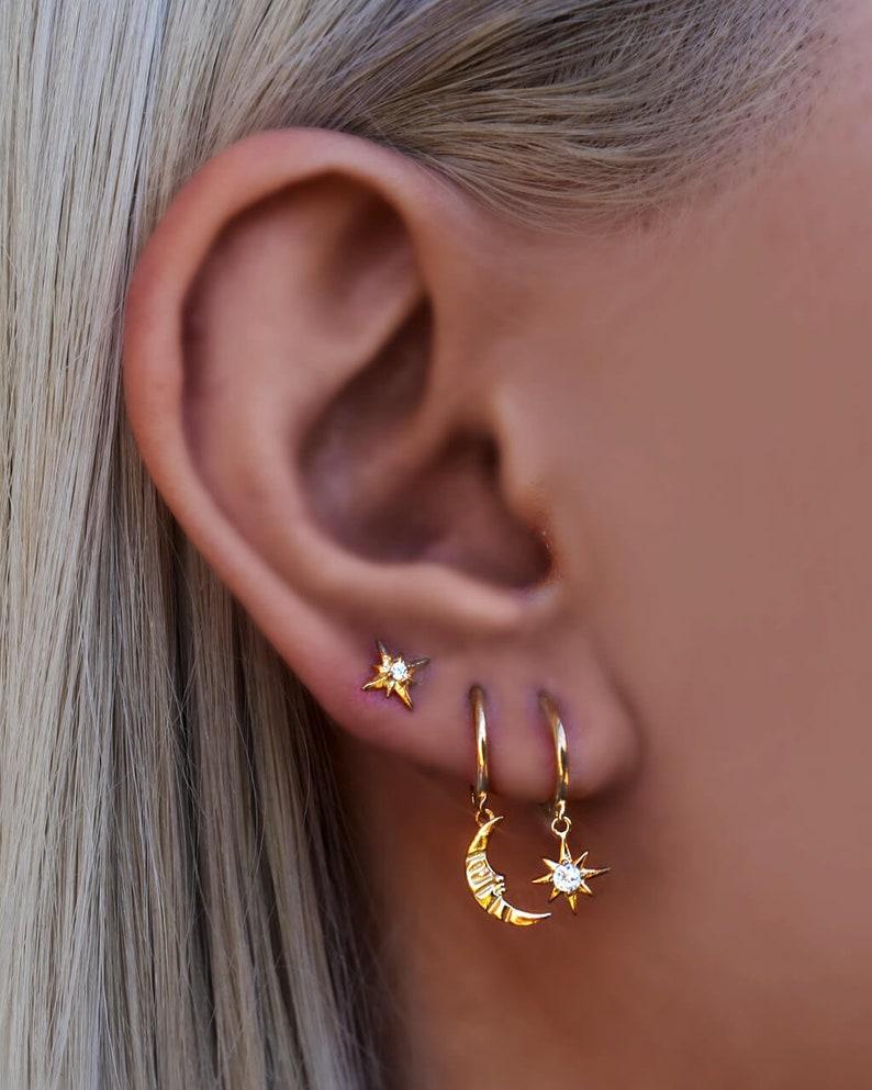 Tiny stud earrings Gold Star Earrings Celestial Earrings Minimalist earrings