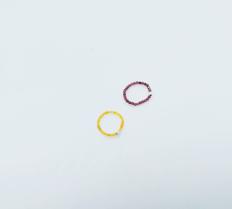 Dainty Minimalist Jewelry Stacking Tiny Gemstone Band Ring Small Nature Ruby Sapphire Amethyst  Citrine Beads Elastic Ring Gift for Her