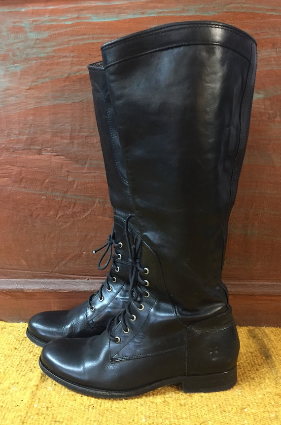 Vintage bohemian hippie Frye boots size 6.5 B women/'s leather riding equestrian knee-high vintage Fryes 8710 made in USA  handmade