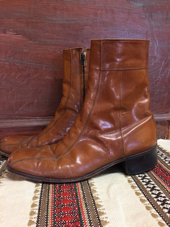 Men's 1970s Whiskey Brown Leather Shoe Boots size