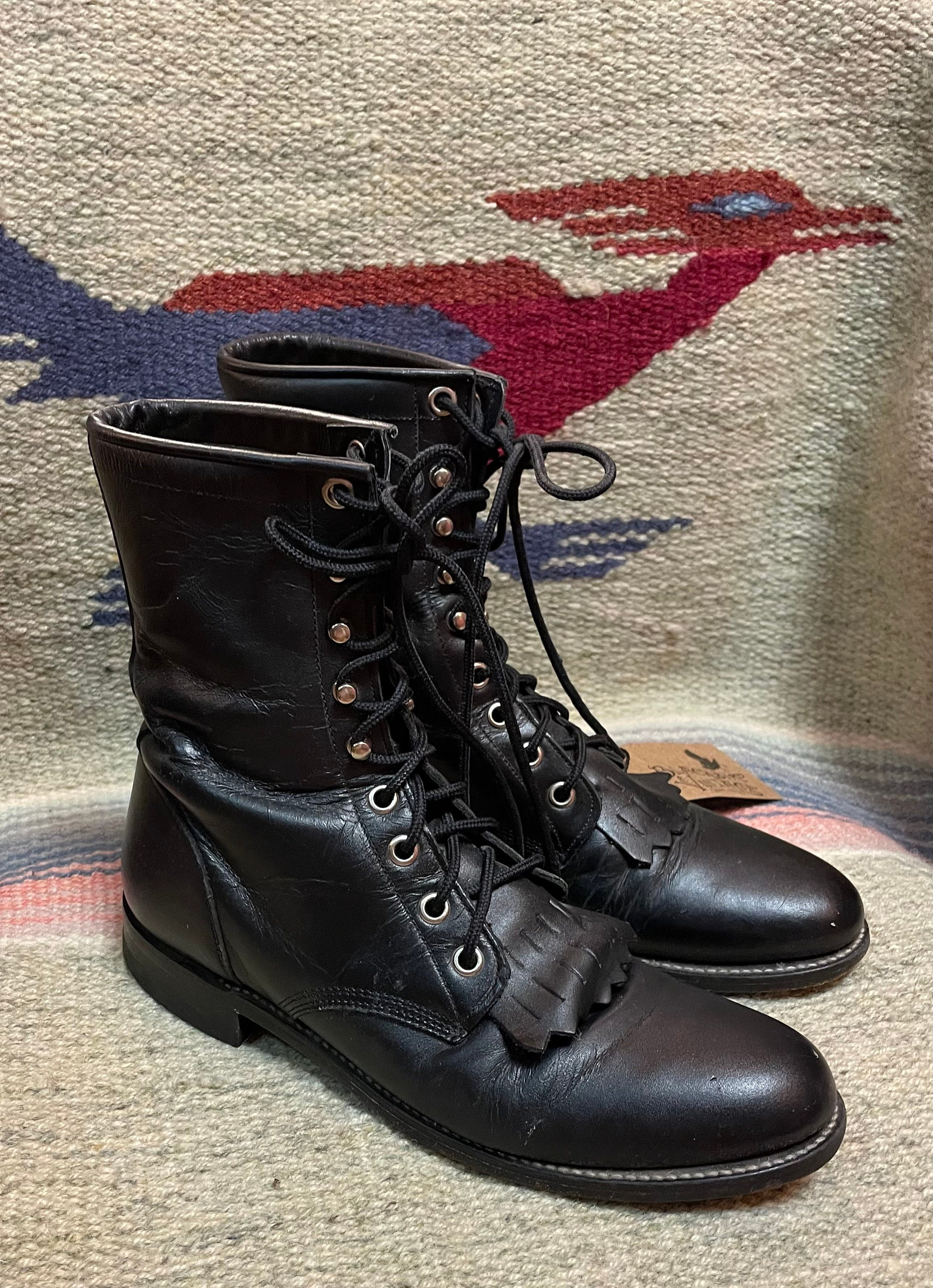 80s Dresses | Casual to Party Dresses 1980s1990s Vintage Justin Boho Western Cowgirl Black Roper Ranch Boots Size 7 $0.00 AT vintagedancer.com