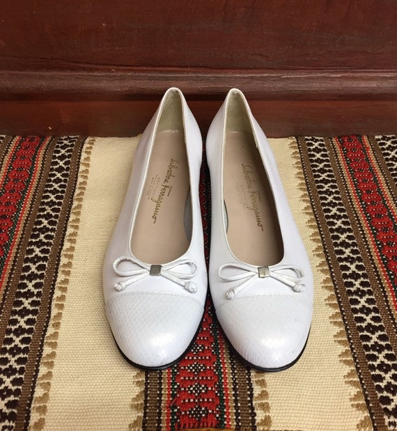 Vintage White Leather Salvatore Ferragamo Ballet F