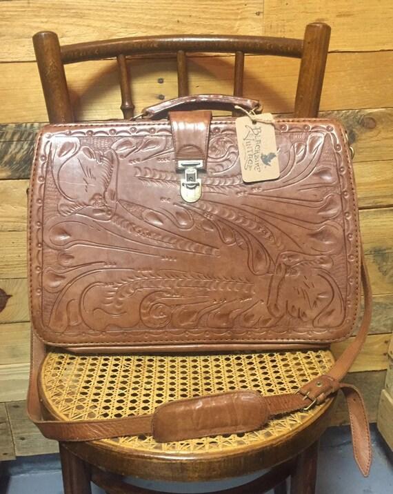 RARE 1970s / 1980s Hand Tooled Leather M.R. Canoa