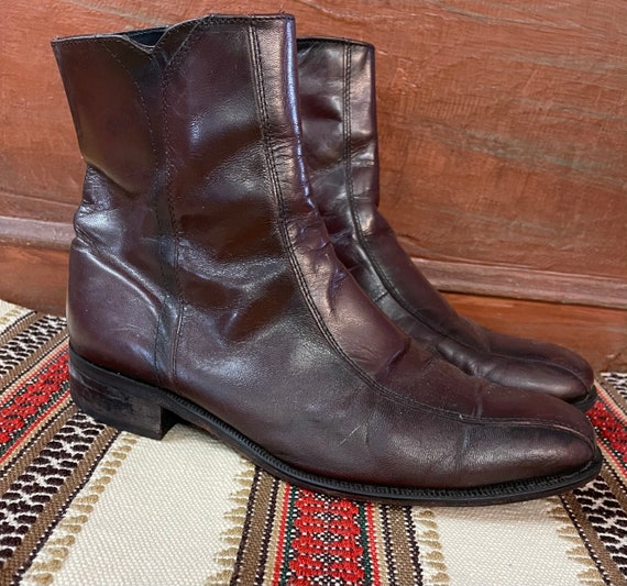Men's 1970s Brown Leather Shoe Boots size 10 D