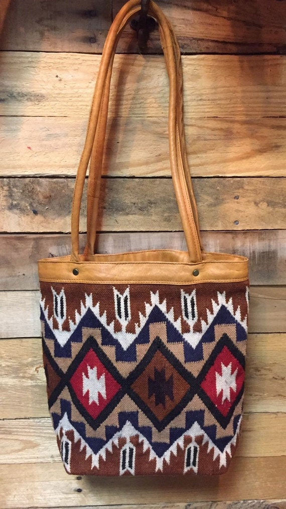 1990's Vintage Wool and Leather Boho Ecuadorian Ha