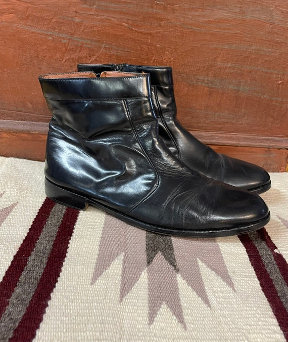 Men's 1980s Black Leather Shoe Boots size 12