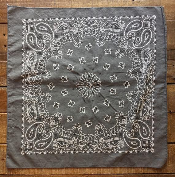 Vintage Charcoal Gray Paisley Cotton Bandana Made In USA