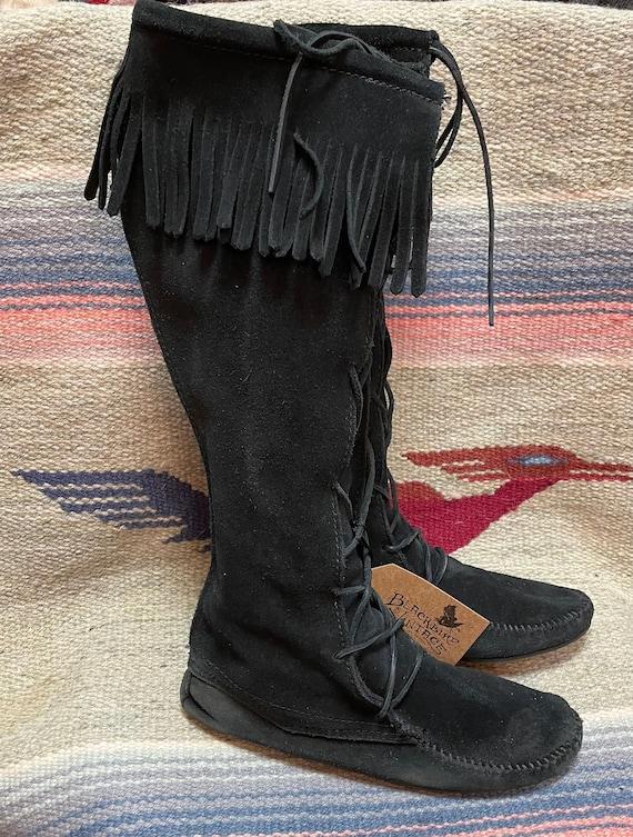Vintage Ladies size 9 Black Suede Fringe Minnetonk