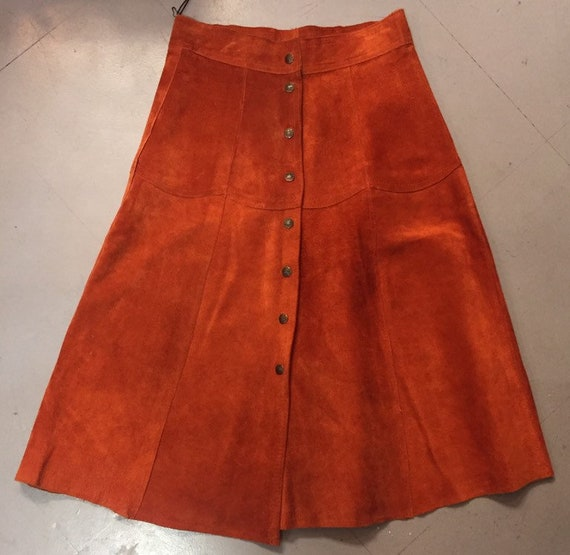 1970's vintage rust suede Snap button Skirt
