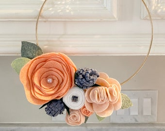 Baby Monthly Milestone Blanket Marker Felt Flower Hoop Wreath Baby Shower Felt Hoop Wreath Peach Gray