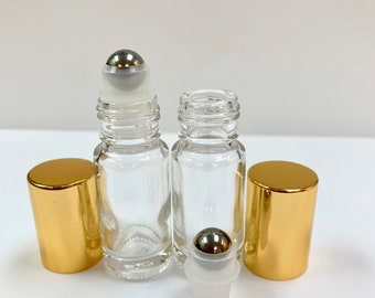 144 Pcs, 5ml (1/6 oz) Clear Rollon Bottle With Stainless Steel Roller with Aluminum Gold Caps