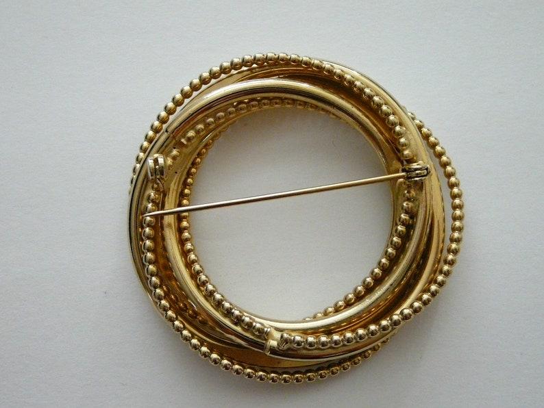 Vintage Circle Brushed Gold Tone BroochPin 1950/'s