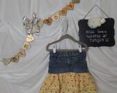 Denim Ruffle Upcycled Skirt Girls size 6