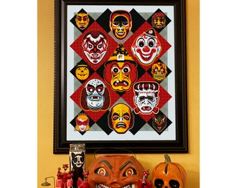 Retro Halloween Mask Limited Edition Lithograph Print/Poster/Decor