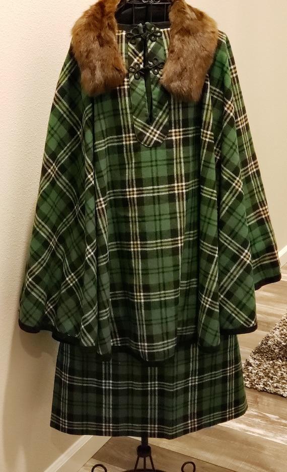 Handmade scottish plaid skirt and cape