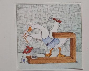 Cranky Carpenter Duck, 11 piece set // Scrapbook Ephemera, Paper Clip Art, Junk Journal, Art, Drawings, Traveller's Notebook, Planner