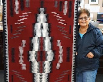 Virgina Morgan, Eye Dazzler Rug, Navajo Handwoven, 43 in x 64 in