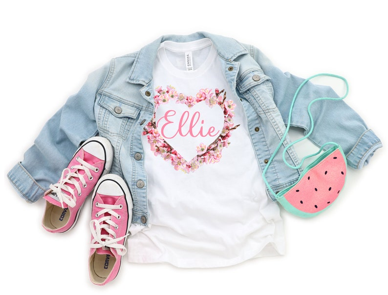 Gift For Girl Girls Clothes Kids T Shirt Personalized Gift For Kids Floral Print Kids Clothes