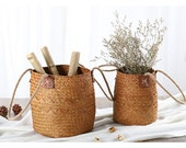 Nordic Vintage Hand Woven Round Flower Pot For Home Decoration