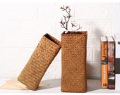 Nordic Vintage Hand Woven Square Flower Vase For Dried Flower
