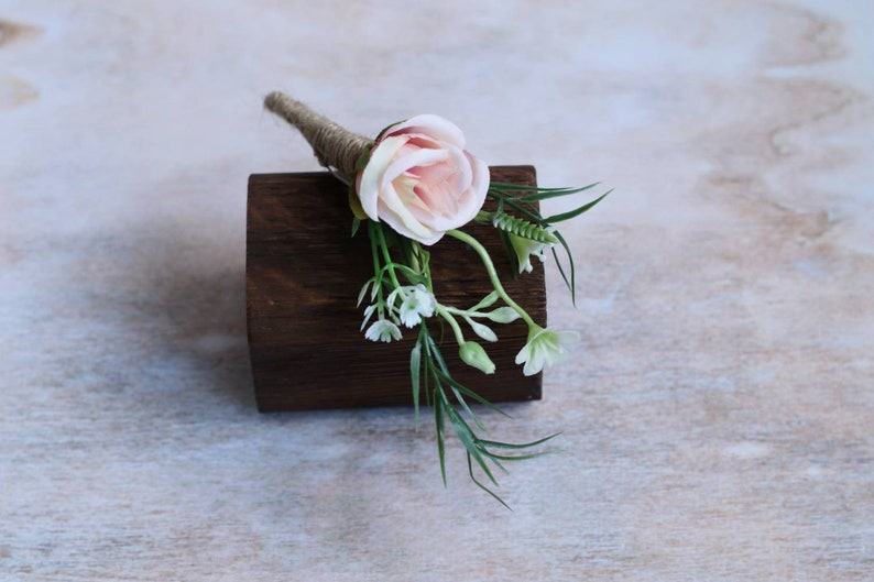 Pink boutonniere baby breath boutonniere rose boutonniere flower boutonniere blush boutonniere buttonhole flower white rose boutonniere