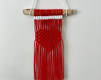 Red Heart Macrame Wall Hanging, Valentines Gifts for Her, Boho Inspired Home Decor