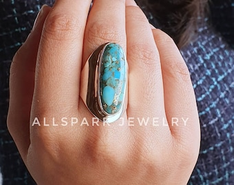 Mohave Turquoise Ring Excellent Quality gem statement ring Sterling Silver