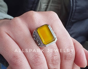 Excellent Quality gem statement ring Mango Chalcedony Ring Sterling Silver