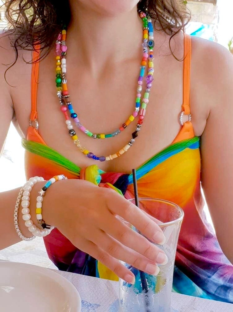 Boho bead necklace,Colorful Random Bead Necklace,Primary Colours Mixed Bead Layer Necklace,Beach Necklace,Hippie Necklace,Pearl,Gypset Style