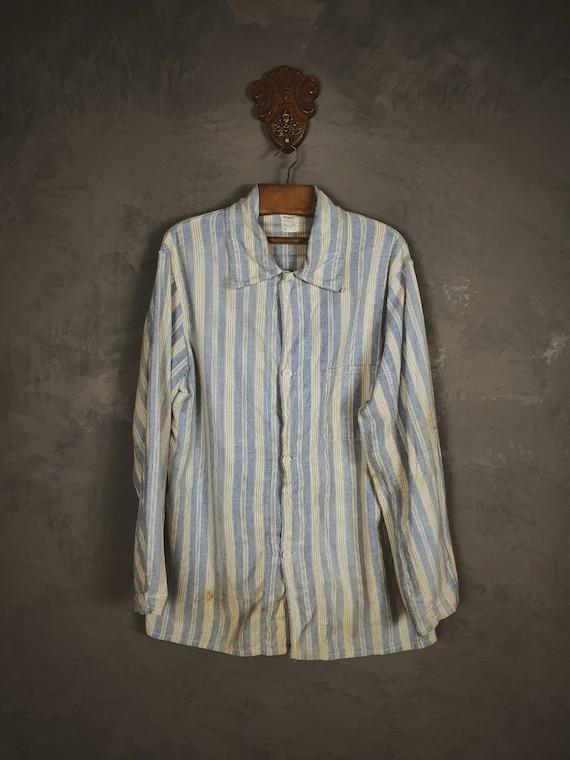 British Prisoner Pyjamas Shirt / with label / 60s