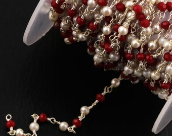 Rondelle 3-3.5 mm Silver Plating Chain Wholesale Bulk Rosary Chain Wire Wrapped Rolls 3-50 Feet Ruby Hydro /& Pearl Beaded Rosary Chain