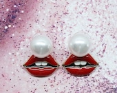 Red lips stud earrings in gold Pearl studs in sexy red mouth design Red lipstick mouth earrings Hot girlfriend gift Cool bff gift