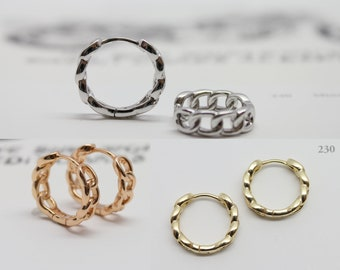 Rose Gold 23x18mm Size Brass Metal Safety Oval Hoops Earrings Gold 1 pair Jewelry Making Findings Rhodium color Silver plated
