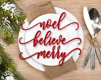 Winter Decor, Christmas Place Cards, Christmas Table Decor, Wood Words, Christmas Name Plates, Winter Plate Topper, Christmas Plate Names